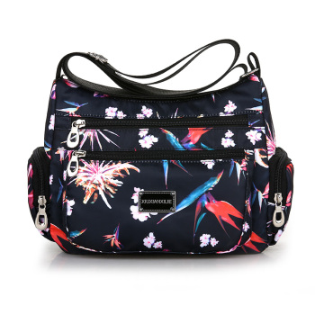 Fashion Shoulder Bag For Women Waterproof Nylon Lightweight flowers Messenger Bag Cute Fresh Leisure Or Travel Bag Colors Hobos candy color waterproof nylon messenger bag solid contracted joker shoulder bag high quality pink crossbody bag hobos for women
