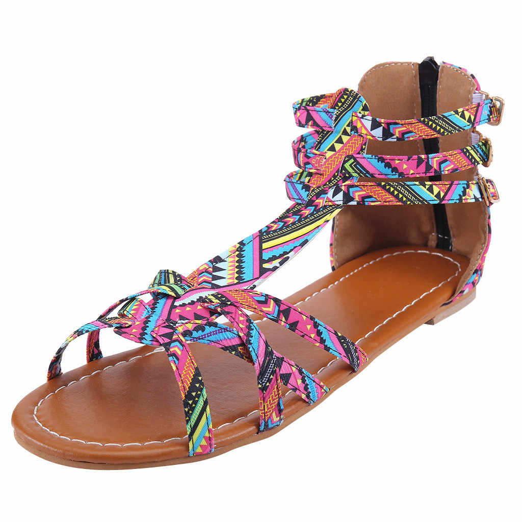 SAGACE ฤดูร้อนผู้หญิง Zipper Casual แฟชั่นลื่นลมแห่งชาติ Bohemian ขนาดใหญ่ความคมชัดรองเท้าแตะรองเท้าแตะรองเท้าสบาย