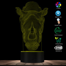 3D Optical Illusion Lamp Animal Rhino 3D Effect 16 Colors Changing For Home Decoration Indoor LED Night Light Novelty Lights