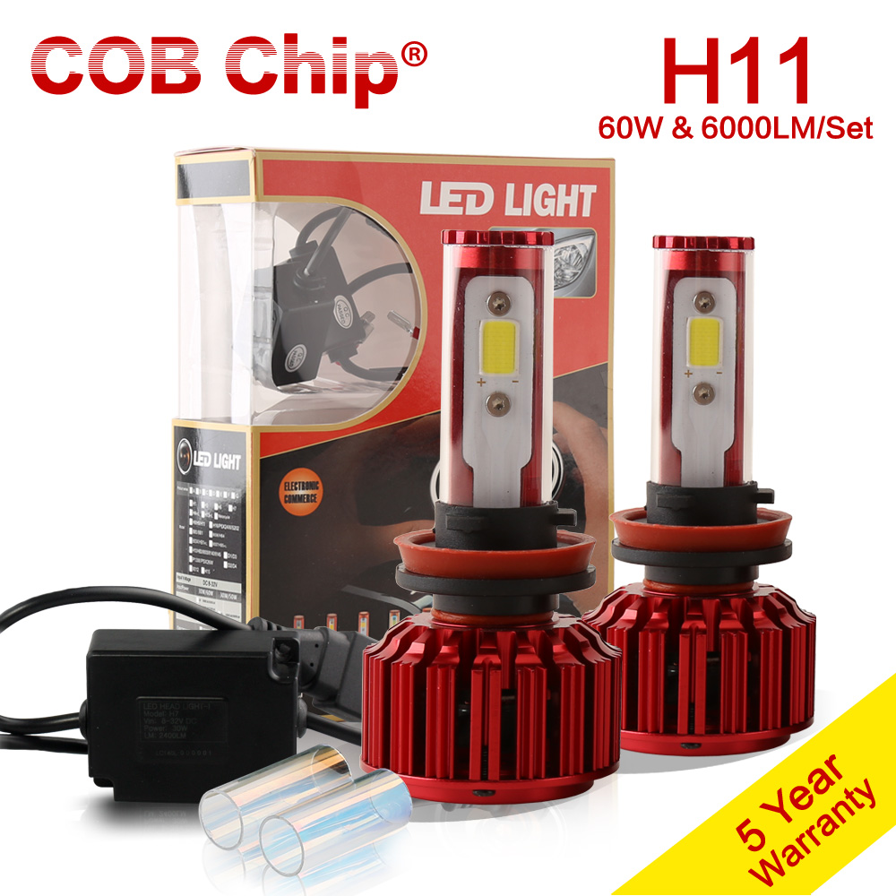 ФОТО 2016 NEW H11 H8 H9 60W 6000LM Low Beam LED Headlamp Kit For 2014-2016 HONDA Civic Coupe Headlight 5000K 6000K Bulb Lamp Pair