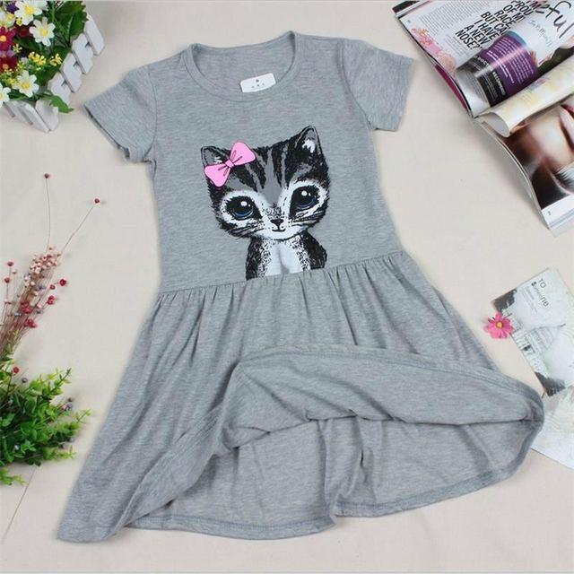 Горячие Продажа Новые 2017 лето девушки платье кошка печати серый девочка платье детей одежда детей одеть 0-8years