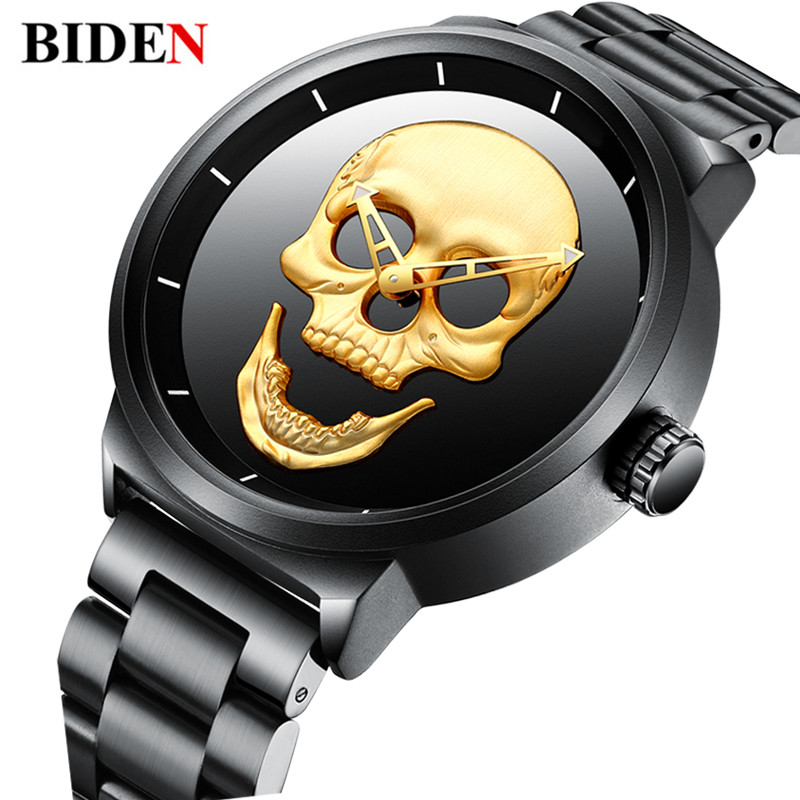 Top Brand Biden Luxury Mens Watch Golden Skull Punk Stylish Watch Men's Stainless Steel Waterproof Sport Quartz Wristwatch Gifts|gift gifts|gift men|gifts watch - title=
