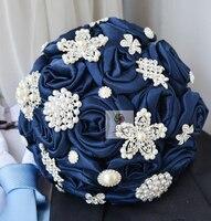 Роскошные Высокое качество ручной работы диаметр 20 см серебро жемчуг кристалл брошь ювелирные изделия подружки невесты Букеты свадебные Д