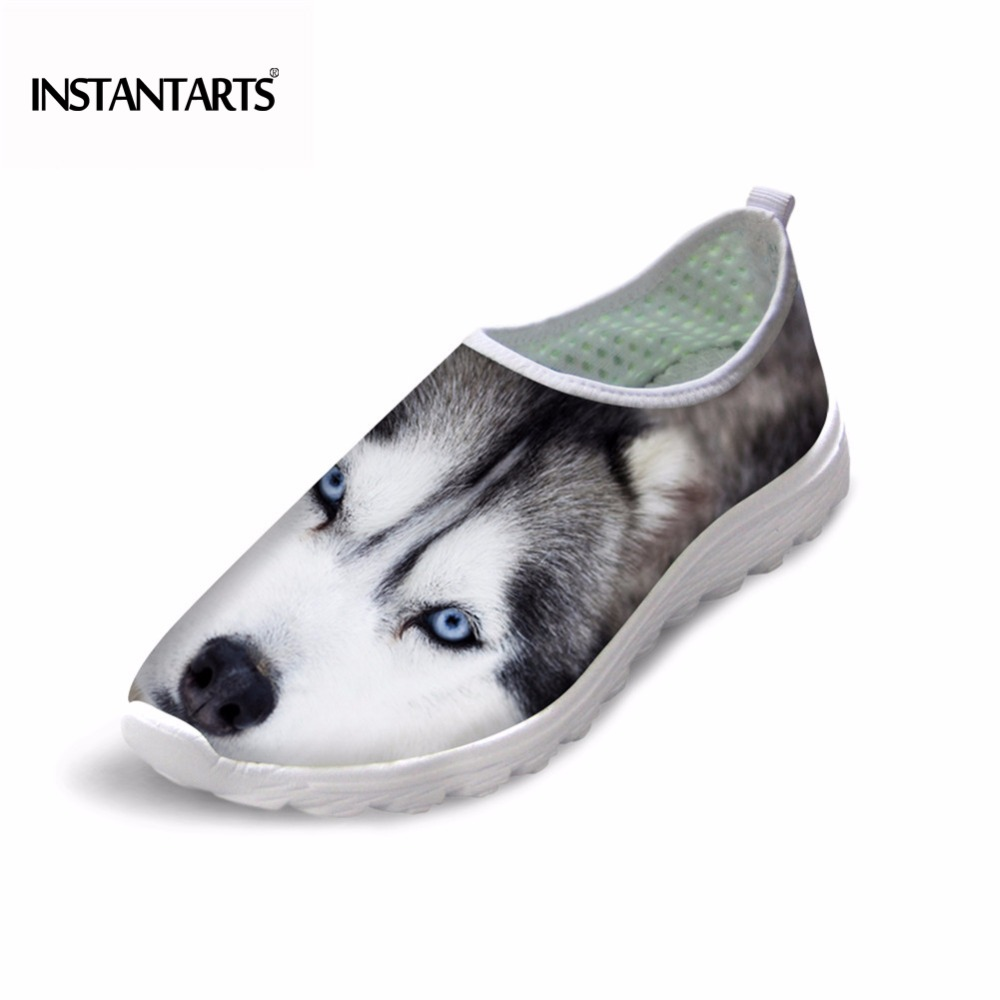 INSTANTARTS Cute Husky Monkey Panda Women Shoes Sneakers for Spring And Summer Mesh Breathable Light Casual Mujer Walk Zapato instantarts women flats emoji face smile pattern summer air mesh beach flat shoes for youth girls mujer casual light sneakers