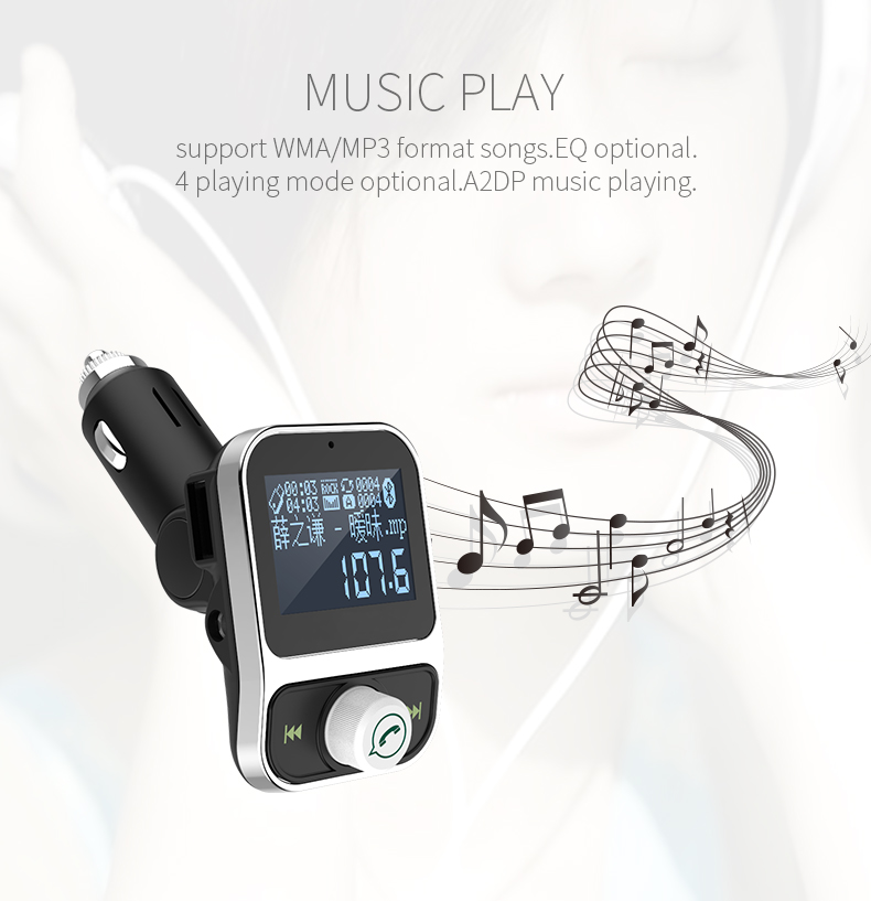 SZYSGSD FM Transmitter Blue tooth FM Modulator Dual USB TF Port Quick Charge 3.1A Charger Handsfree Car Kit MP3 Music Player