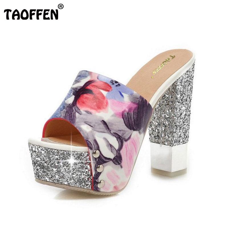 TAOFFEN women print ankle strap platform high heel sandals brand sexy fashion ladyheeled footwear heels shoes size 32-43 P18124