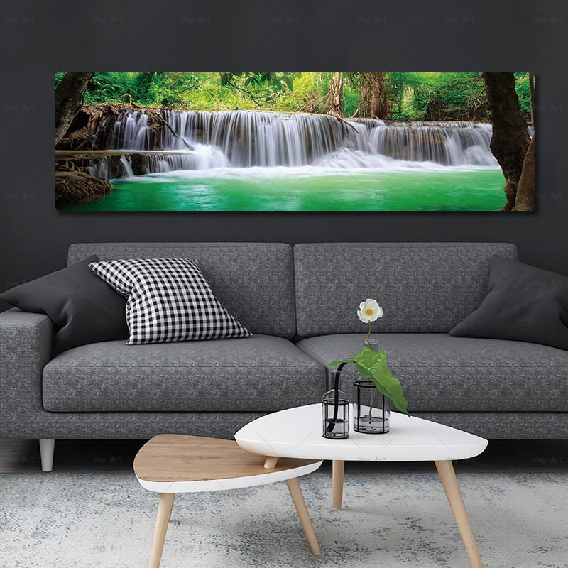 Blue Lake Canvas Painting Wall Pictures For Living Room Posters And Prints Waterfall Landscape Poster