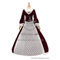 Reenactment Gothic Victorian Marie Antoinette Prom Dress Ball Gown Noble With White Lace and Low Collar Graceful in Party
