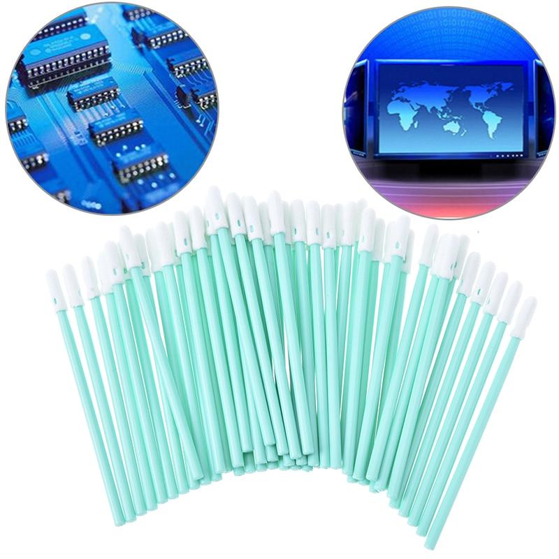 Total 100 Pcs Foam Tip Cleaning Swabs Sponge Stick For Inkjet Printer, Printhead, Camera, Cleanroom, Optical Lens, Detailing