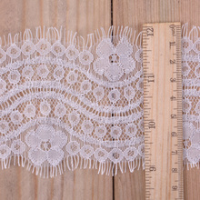 3M/lot Eyelashes Lace Trim Flower Black Off White High Quality Fabric Handmade DIY Clothes Accessories
