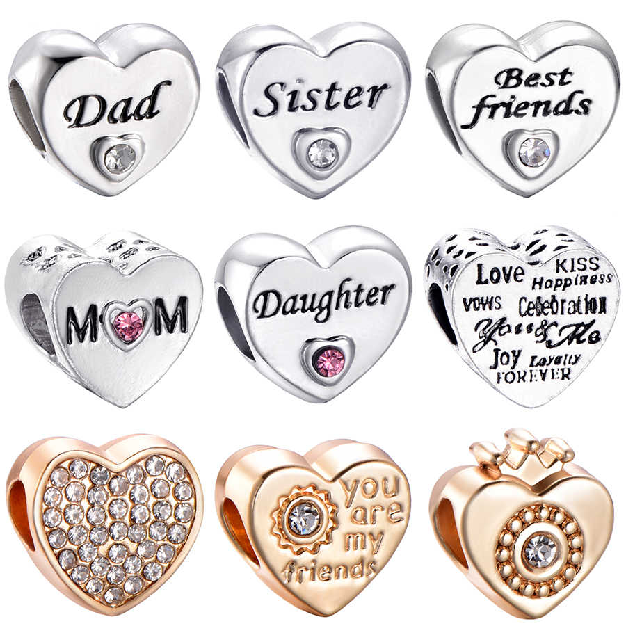 CUTEECO Free Shipping Sister Daughter Friend Love Heart Silver Plated Charms Bead Fit Pandora Bracelet For Women DIY Jewelry