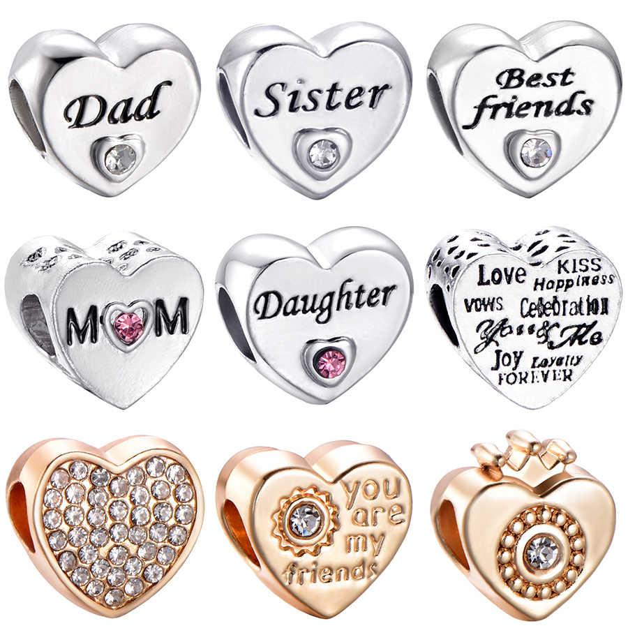 CUTEECO envío gratis hermana hija amiga amor corazón Chapado en plata abalorios ajuste pulsera Pandora para mujeres DIY joyería