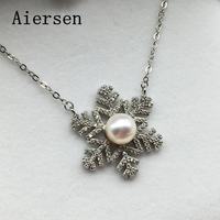 Aiersen Beautiful Snowflake Women Necklace Fashion Pendant Temperament 8 9MM Pearls Genuine S925 Jewelry Ladies Luxury Gifts