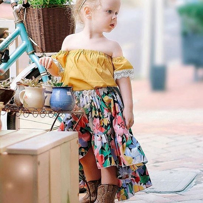 0 5T girl Yellow Flare sleeve T shirt pink Tutu skirt children kids baby girl summer clothes princess dresses sets in Clothing Sets from Mother Kids
