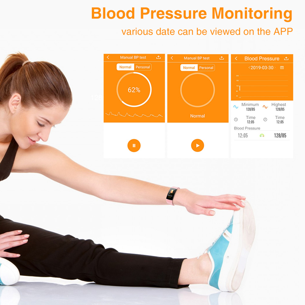 """Image 3 - Virtoba I8S 1.14"""" Smart Band Men Women Bluetooth Fitness Tracker Bracelet Blood Pressure color UI Wristband Watch For AndroidIOS-in Smart Wristbands from Consumer Electronics"""