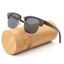 Fashion Women bamboo sunglasses Colored lens Semi-R