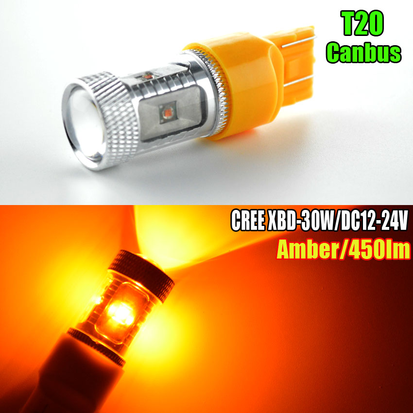 2x High Power 30W CREE Chip T20 7443 W21/5W CANBUS Auto LED Bulbs Car Reverse Lights Signal Backup DRL Lights White/Red/Amber