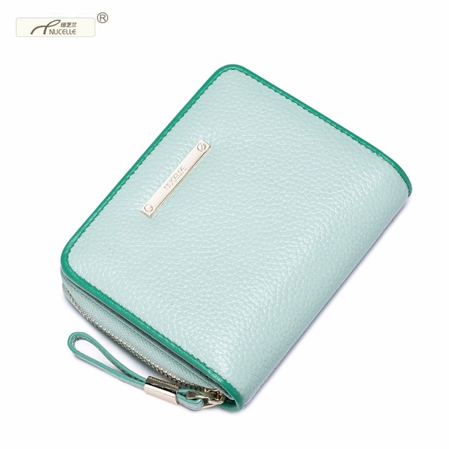 NUCELLE Brand New Design Fashion Contrast Color Genuine Leather Ladies Coin Purses Wallets Women Cards Holder Gift For Girl