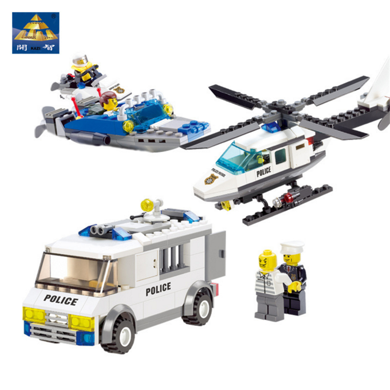 KAZI Police Series Building Blocks Prison Van Air Force Police Helicopter Educational Learning Toys for Kids Gift police pl 12921jsb 02m