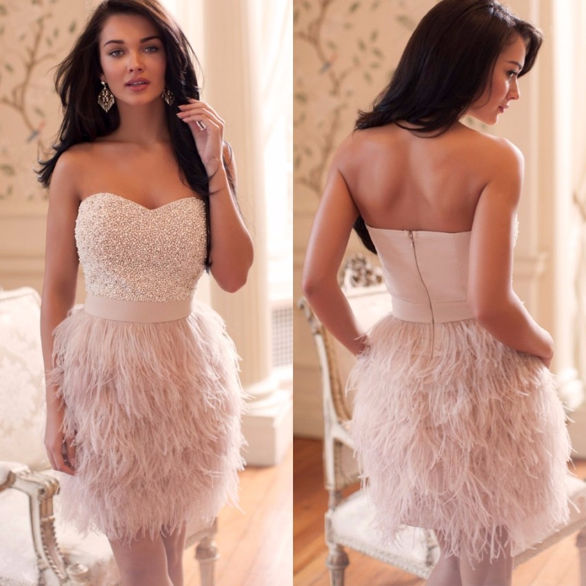 Fashion-Pink-Feathers-Cocktail-Dresses-2016-Sexy-Sweetheart-Beading-High-Quality-Short-Prom-Party-Gowns-