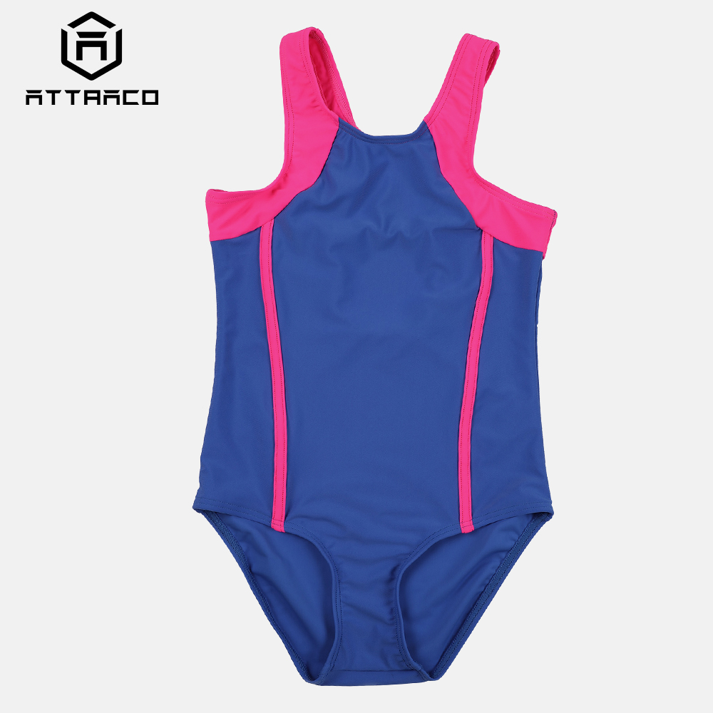 Attraco Girl 39 s One Piece Sport Swimsuit Splice Colorblock Swimwear Training Racerback Bikini Wear Beachwear in Body Suits from Sports amp Entertainment