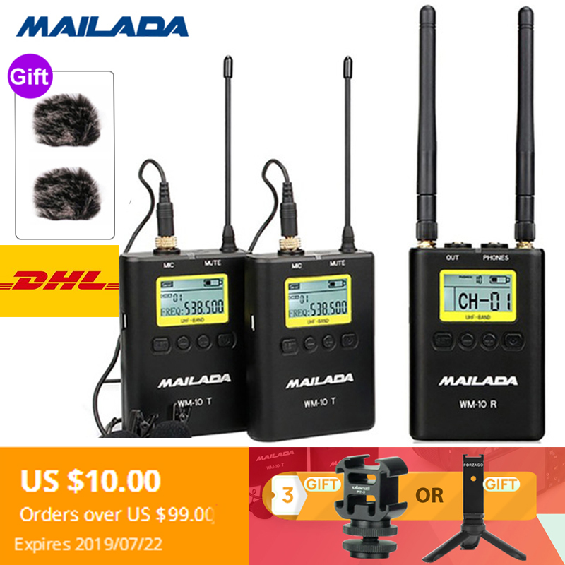 WM 10 Professional UHF Wireless Microphone Lavalier Mic Receiver Transmit for dslr cameras sony canon Osmo
