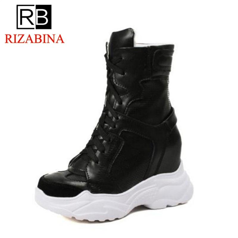 RizaBina Mode WomenGenuine Lederen Enkellaarsjes Wiggen Lace Up Mesh Ademend Warme Schoenen Vrouwen Binnenkant Hak Schoenen Maat 32  40-in Enkellaars van Schoenen op  Groep 1