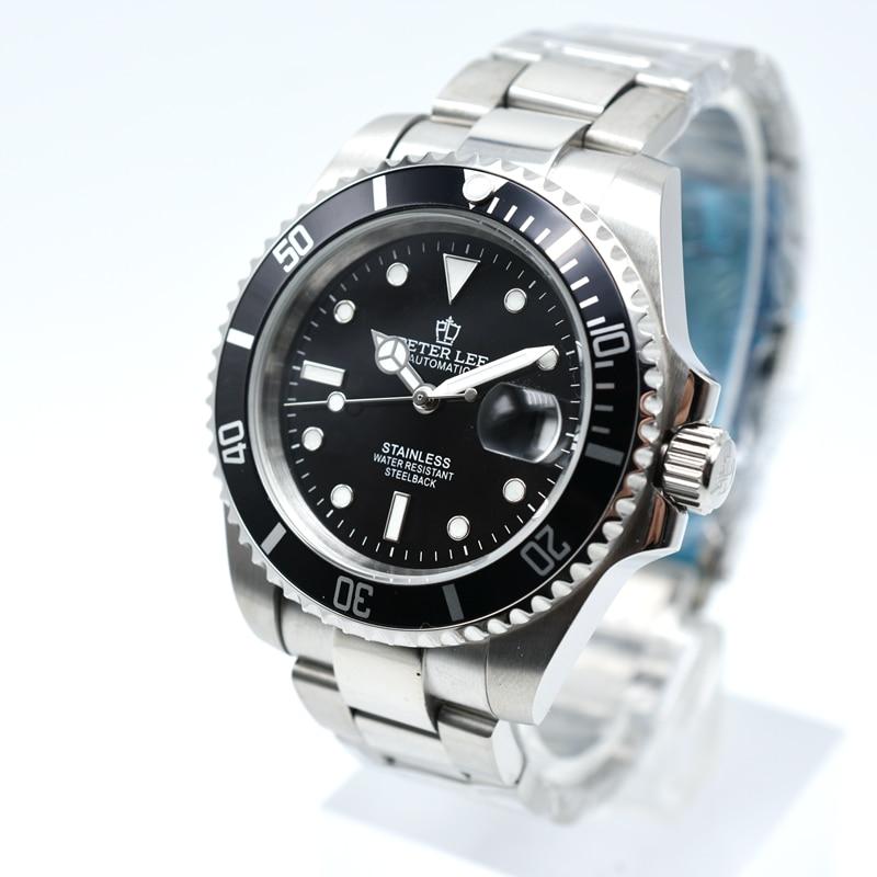 Wrist Watch | PETER LEE Watch | Mens Full Steel Luminous Hands Watch 40mm Automatic Mechanical Watch Classic Mens Watch Top Brand Luxury Waterproof Clocks