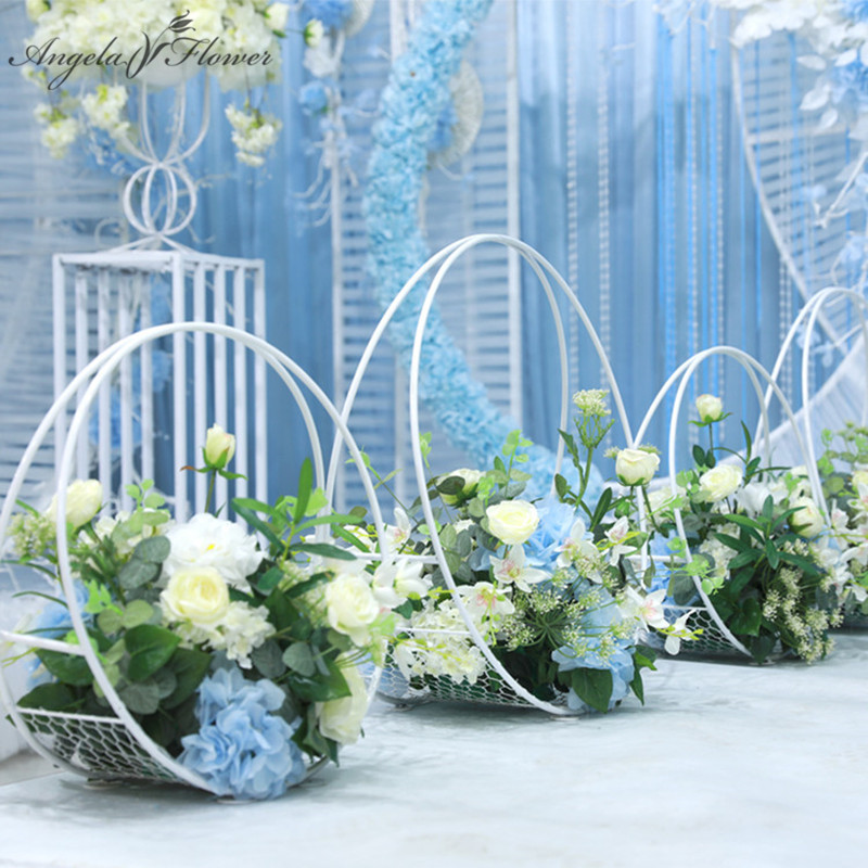 Custom 60 cm wedding road guide wrought iron arch table flower stand basket floral artificials ornaments