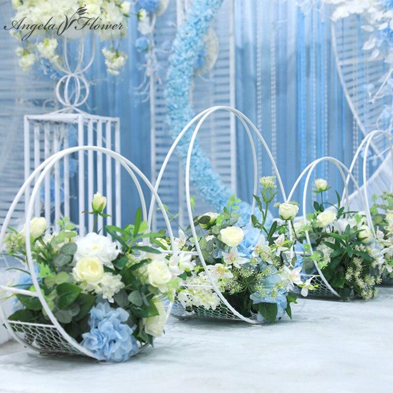 사용자 정의 60 cm 웨딩로드 가이드 단 철 아치 테이블 꽃 스탠드 바구니 꽃 인공 장식품 크리 에이 티브 창 장식-에서인공 & 건조 꽃부터 홈 & 가든 의  그룹 1