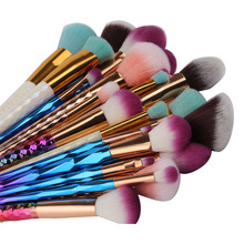 Pro Colorful Soft Makeup Brushes Set Foundation Powder Blush Eye Shadow Coutour Blending Make Up Brush Beauty Cosmetic Tool Kit