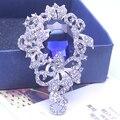 Женщины Синий Rhinestone Акриловые Броши Классический Ювелирные Изделия Броши Для Рождественских Подарков Булавка Брошь Дамы Платье XZ011