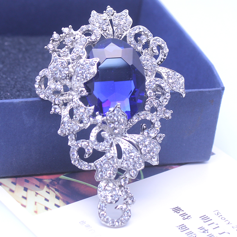 Women Blue Rhinestone Acrylic Brooches Classical Jewelry Broches For Christmas Gifts Safety Pin Brooch Ladies Dress XZ011