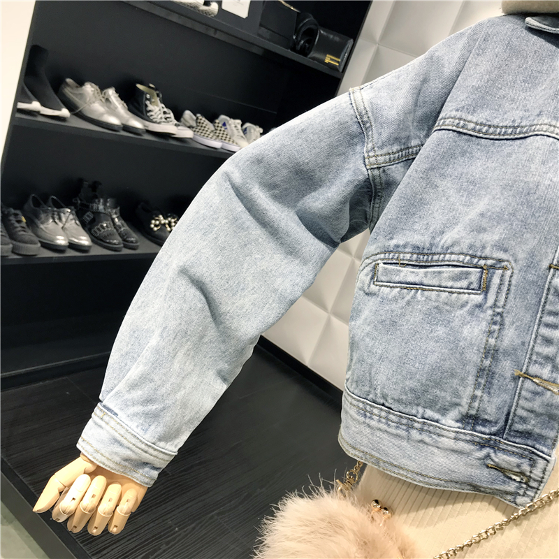 Jeans À Longues Printemps Filles Jean Streetwear Lady Bouton De Manches Court Manteau Ample Veste Manteaux Rétro Outwear Denim 2019 Bleu Revers Femme 0qnFwxOX
