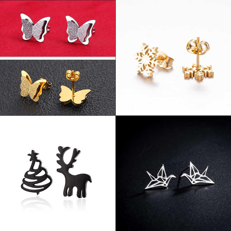 Yiustar Fashion Wild Snowflake Earrings Christmas Earrings for Women in Stud Earrings Origami Crane Animal Ear Studs Set Aretes