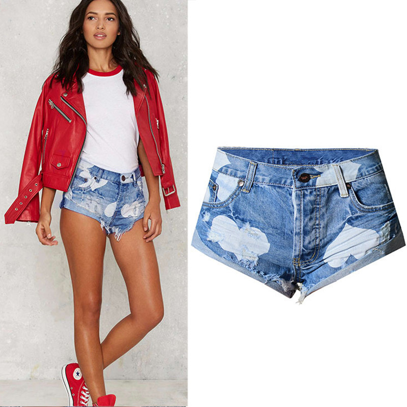 Blue Short Jeans Curling-Fringe Ripped Heart-Printed Sexy Summer Casual Women Hole Hot