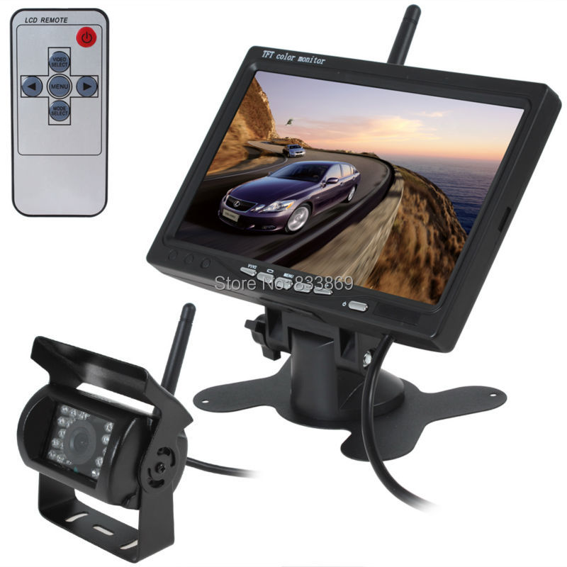 ФОТО 2.4GHz wireless rear view camera 7 inch LCD Car Rear View Monitor + IR NIght Vision Back Up Camera for Truck Trailer Bus