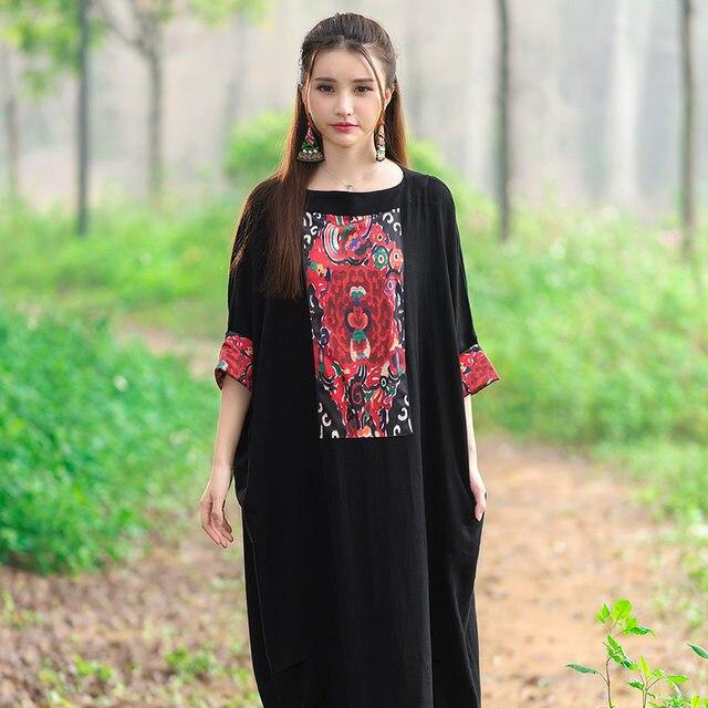 Online Shop Black Indian Dress Women Long Muslim Robe Cotton Linen ...