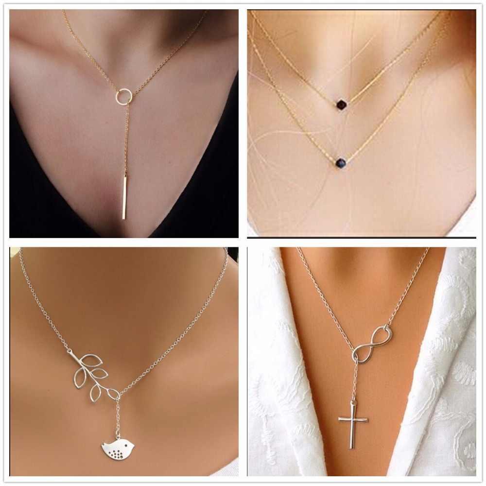 Yüksek Kaliteli Bijoux Inifity Kalp Baykuş Kristal Çapraz Yaprak Minimalist Klavikula Kolye Kolye Kadınlar Için Takı Zinciri Collares