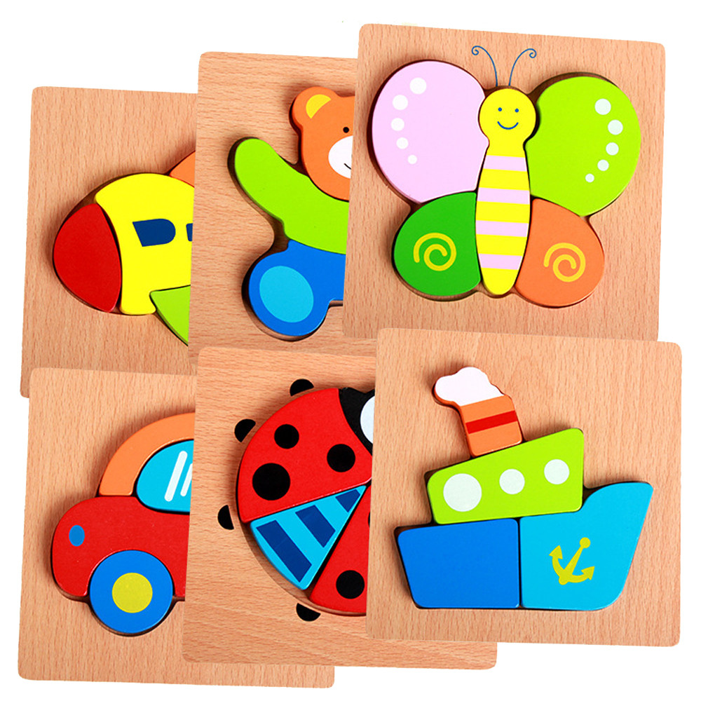 Educational Toy Wooden Jigsaw Toy Kids Jigsaw Hand Grasping Puzzle Board Cartoon Wood Three-Dimensional Puzzle children Kids puzzle toy wooden three open kong ming lock