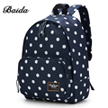 BAIDA Brand Black Polka Dots Backpack High Quality Fashion Backpacking Bag School Student Daypack Backpacks for Teen Girls