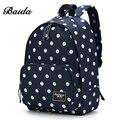 BAIDA Marca Negro Polka Dots Mochila Alta Calidad Moda Mochila Bolsa de La Escuela Estudiante Mochila Mochilas para Niñas Adolescentes
