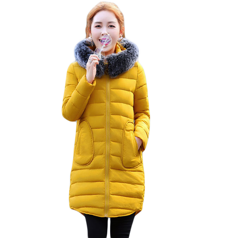 2017 New Fashion Ladies Thick Warm Winter Jacket Women Slim Parkas Female Large Fur Hooded Cotton Coat Plus Size S-3XL CM1647 bel canto шарф с котами красный