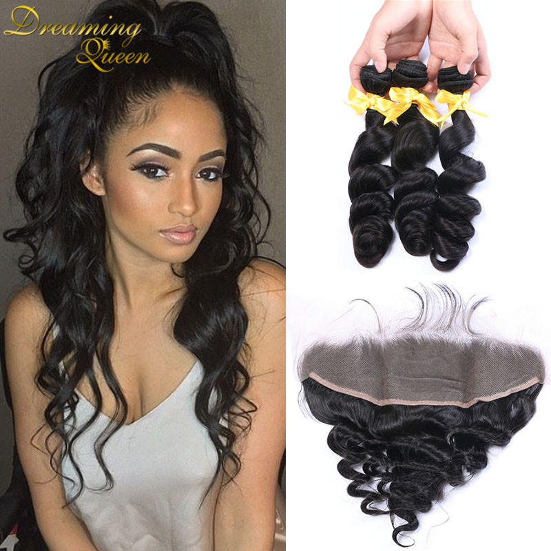 ФОТО 7A Full Frontal Lace Closure 13x4 With 3 Hair Bundles Peruvian Loose Wave With Closure Lace Frontal Closure With Hair Bundles