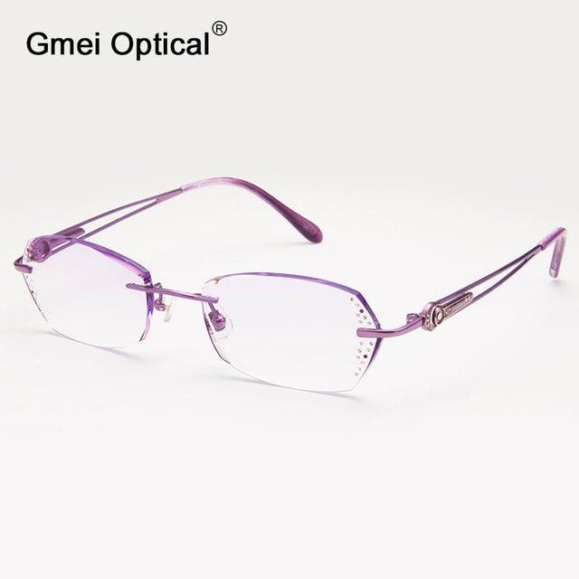 Gmei Optical Q1820 Rimless Diamond Cutting Fashion Women Eyeglasses Frame for Eyewear Glasses