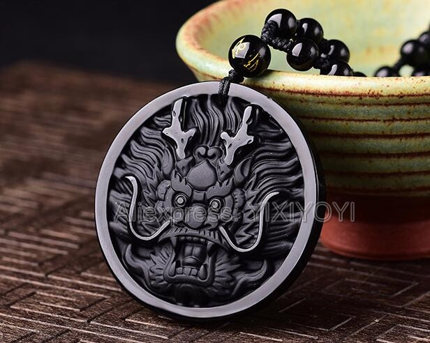 100% Natural Black Obsidian Carved Chinese Dragon Head Lucky Amulet Pendant + Free Necklace Fashion Jewelry For Woman And Man