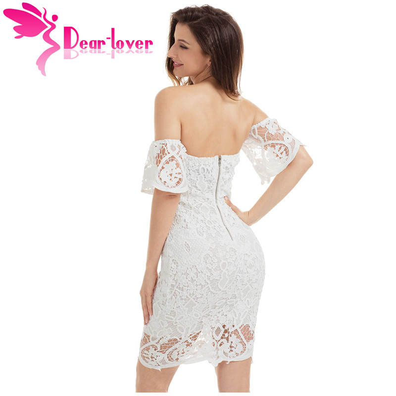 Dear Lover Lace Party Dresses Elegant Summer 2017 White Short Sleeve Off Shoulder Bodycon Dress Vestido de Renda Branco LC220026