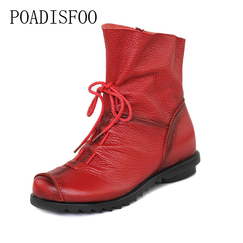 POADISFOO Shoe Martin Boots Genuine Leather Ankle Shoes Vintage Casual Shoes Design Retro Handmade Women Boots Lady.ZXW-1806 women led light shoes casual shoes led luminous boots unisex genuine leather ankle boots women usb charging martin boots 35 46