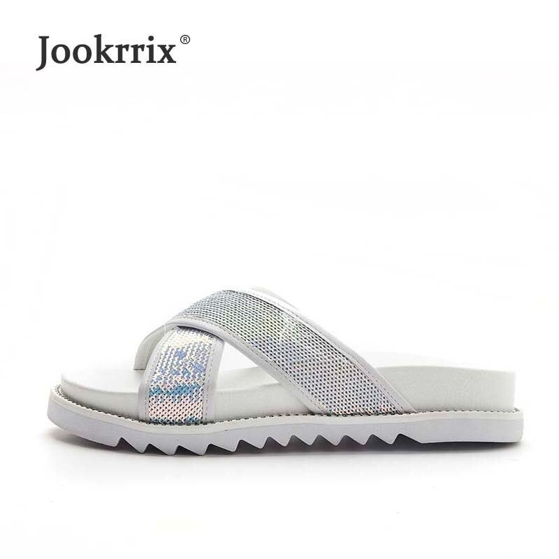 Jookrrix 2018 новые летние модные брендовые женские тапочки Bling Gliiter для отдыха пляжные шлепанцы обувь для девочек блестки слайды белый
