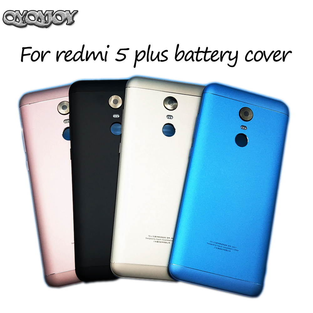 Q&Y QYQYJOY For Xiaomi Redmi 5 Plus Spare Parts Back Battery Cover Door Housing + Side Buttons + Camera Flash Lens Replacement